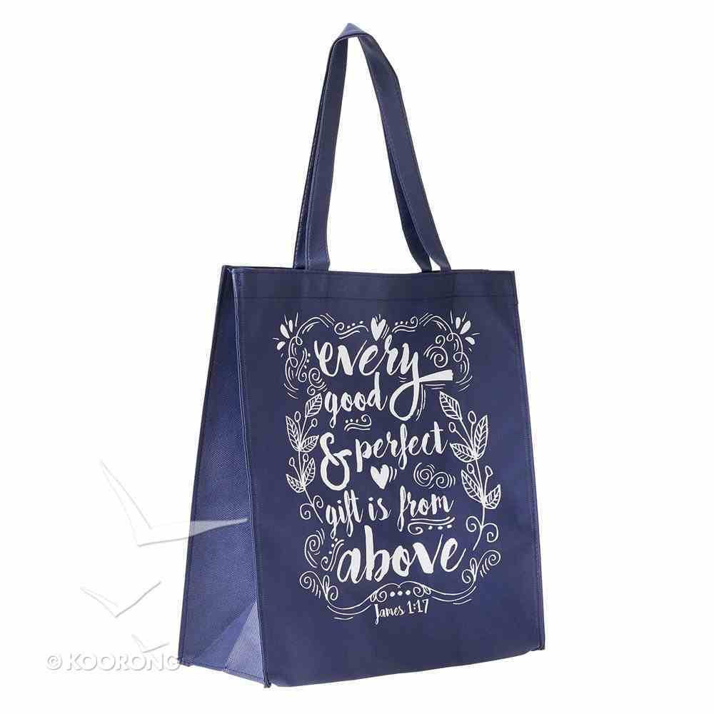 Tote Bag: Every Good & Perfect Gift is From Above, Navy Blue/White (James 1:17) Soft Goods