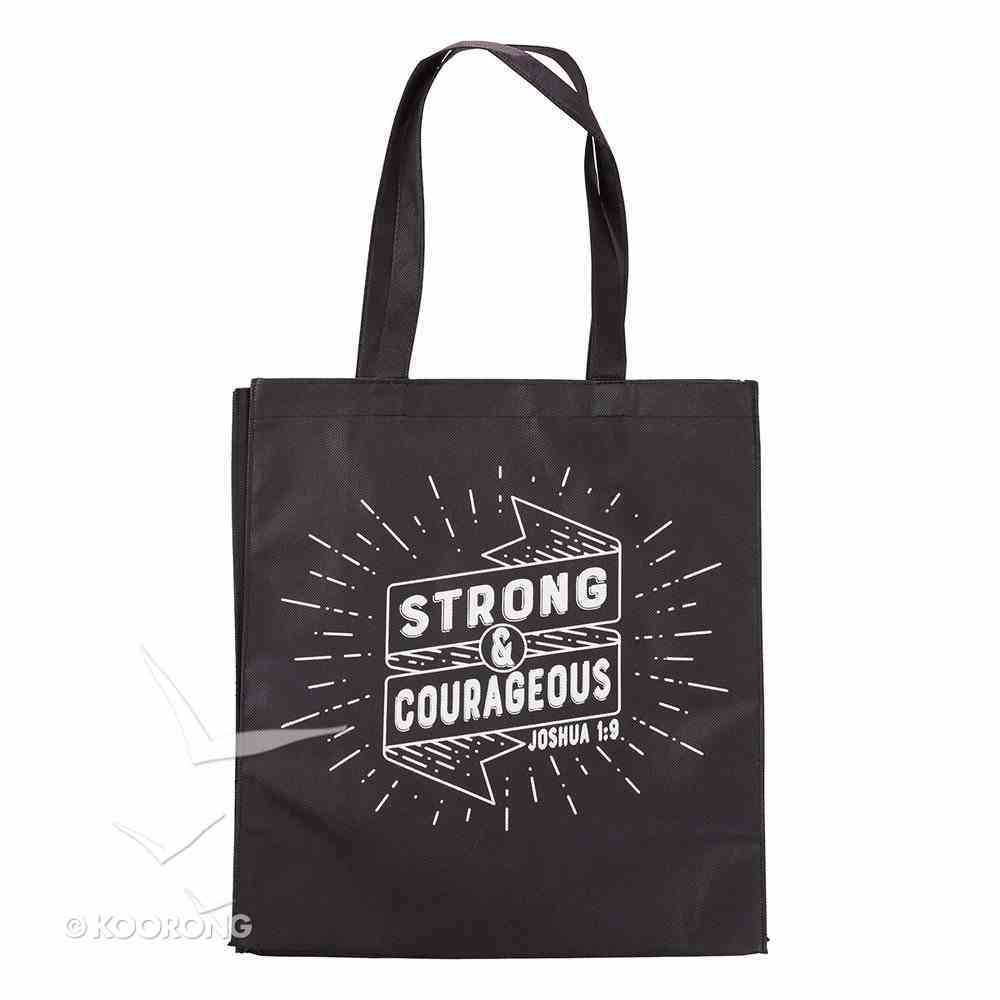 Tote Bag: Strong & Courageous, Black/White (Joshua 1:9) Soft Goods