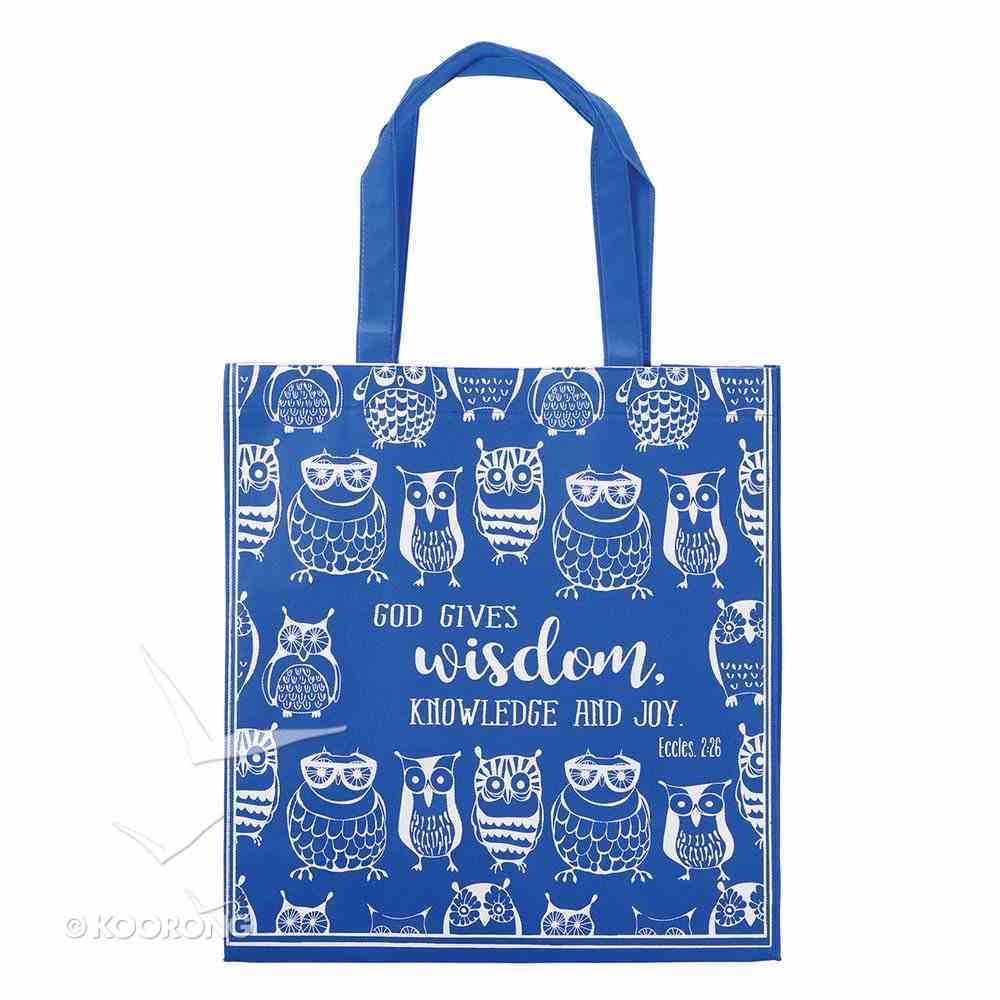 Tote Bag: God Gives Wisdom, Knowledge and Joy, Blue/White Owls (Ecc 2:26) Soft Goods