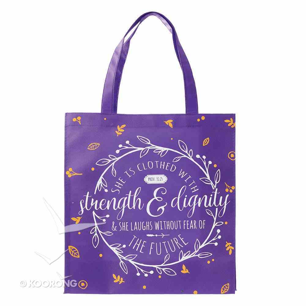 Tote Bag: She is Clothed With Strength & Dignity....Purple/White/Orange Soft Goods