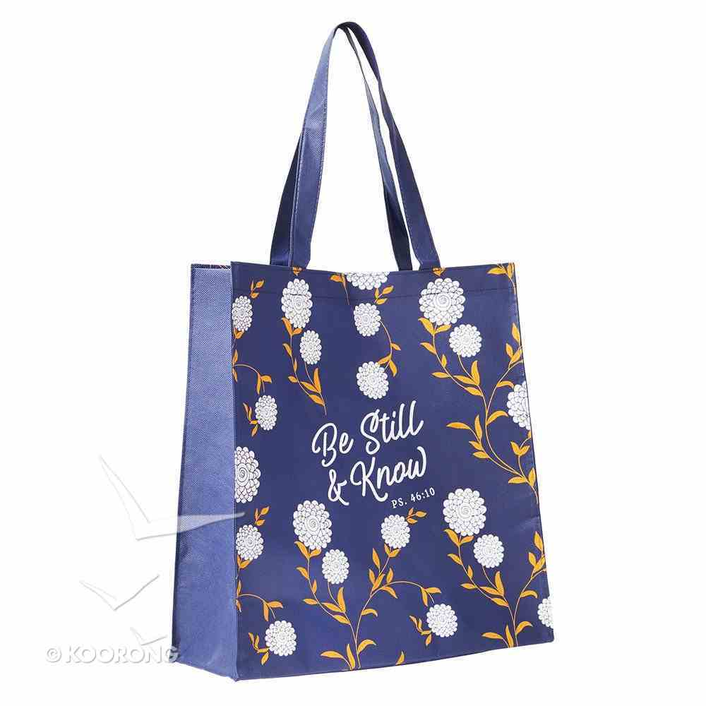 Tote Bag: Be Still & Know, Dark Purple/White/Orange (Psalm 46:10) Soft Goods