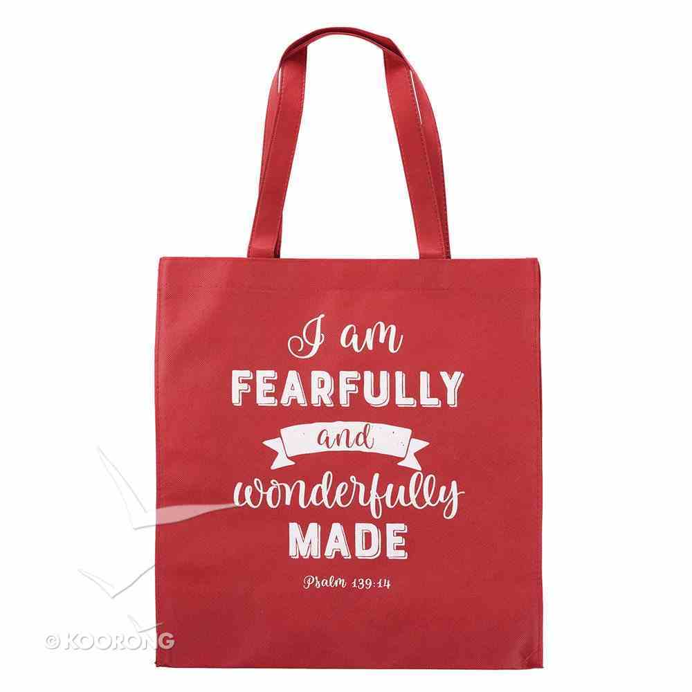 Tote Bag: I Am Fearfully and Wonderfully Made, Red/White (Psalm 139:14) Soft Goods