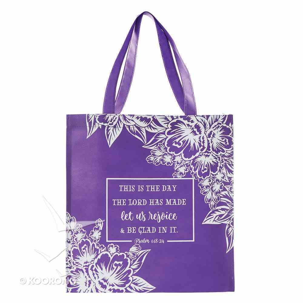 Tote Bag: This is the Day the Lord Has Made....Purple/White Flowers (118:24) Soft Goods