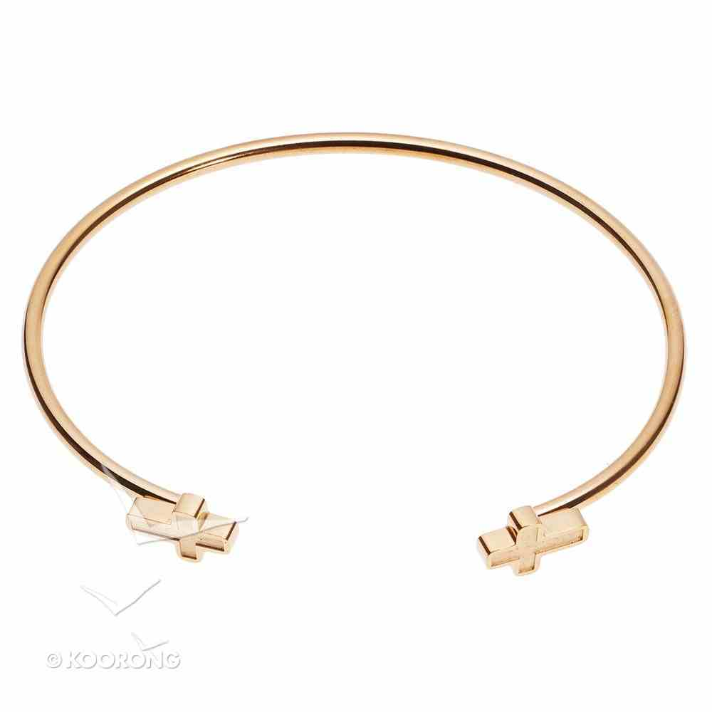 Bracelet: Open Cuff Bracelet With Cross Ends, 316 Stainless Steel With 14K Gold Plating Jewellery