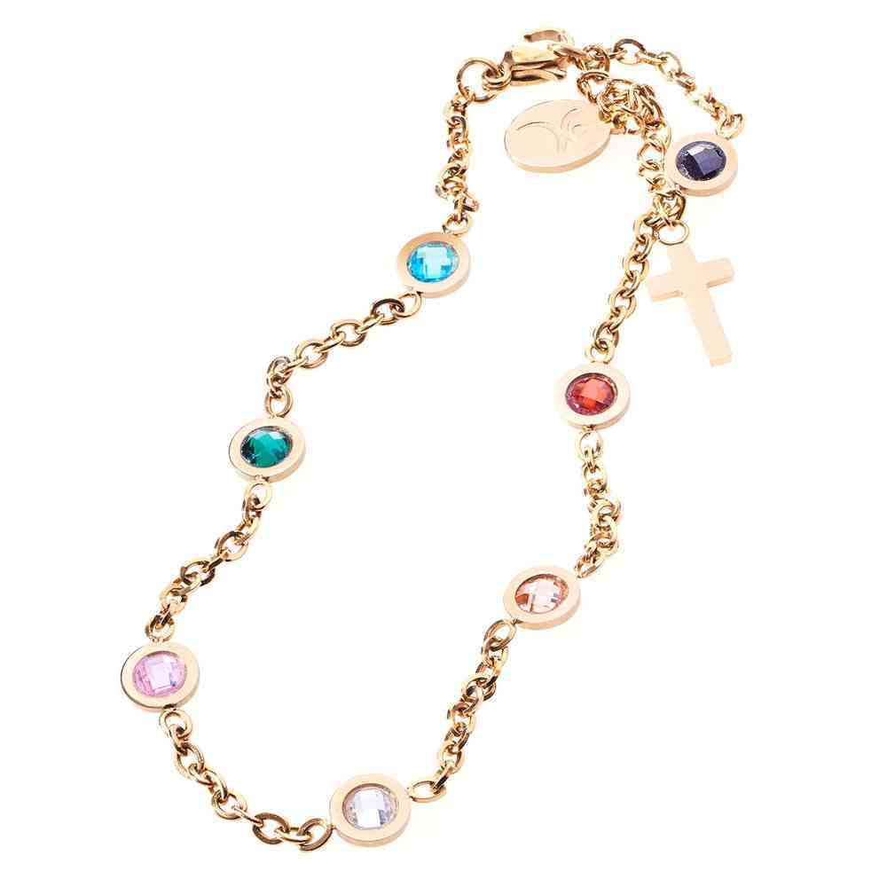 Bracelet: Salvation Chain With Cubic Zirconia Stones, Lobster Claw Closure Jewellery