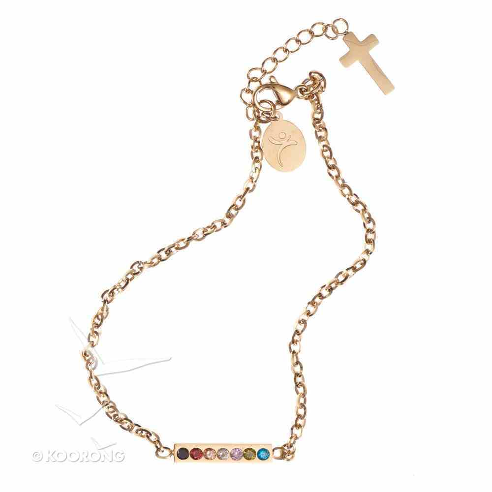 Bracelet: Salvation Cubic Zirconia Bar Chain Bracelet, Lobster Claw Closure Jewellery