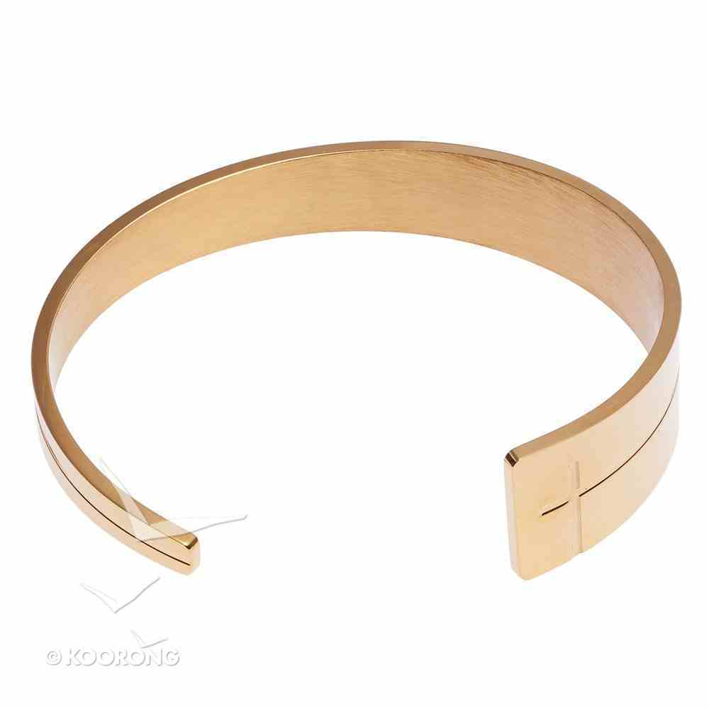 Bracelet: Open Cuff Cross With Tapered End, 316 Stainless Steel With 14K Gold Plating Jewellery