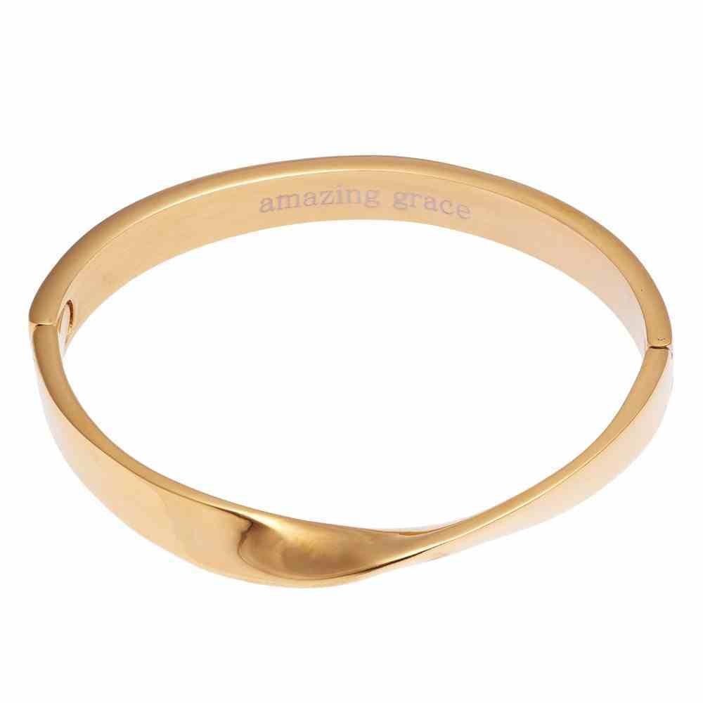 Bracelet: Amazing Grace Hinged Bangle, Snap Closure, 316 Stainless Steel With 14K Gold Plating Jewellery