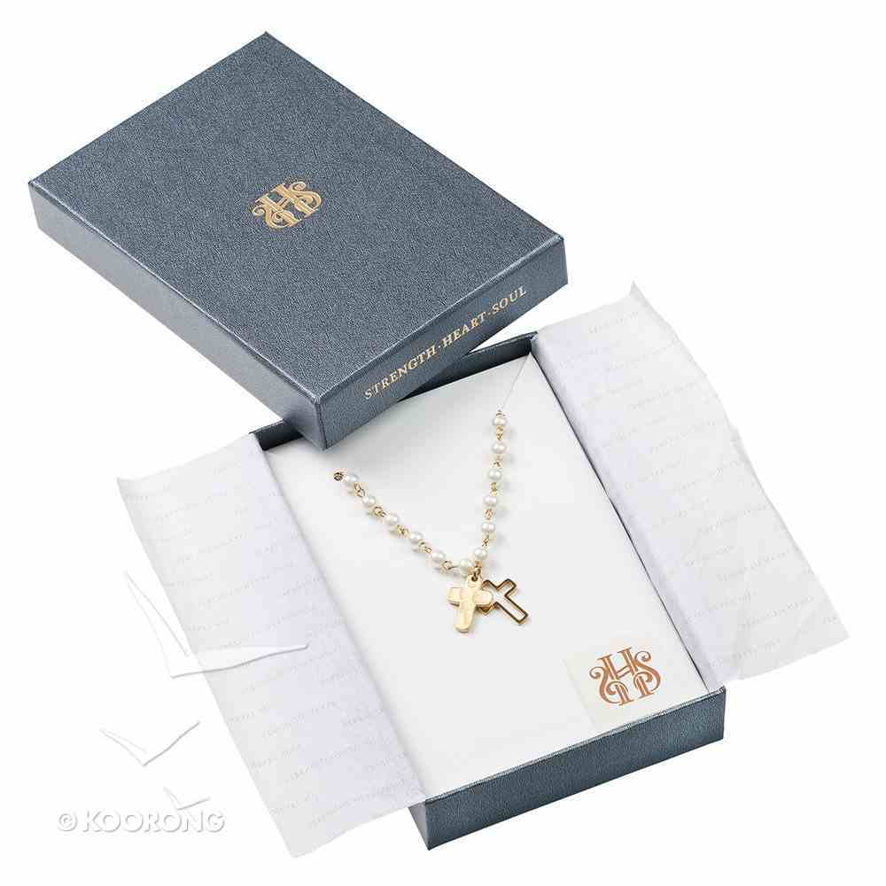 Necklace: Double Cross and Glass Pearl, 50.80Cm Chain With 7.6cm Extender, Lobster Claw Closure Jewellery