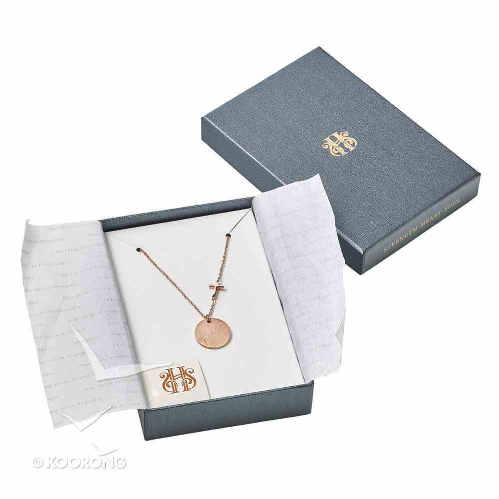 Necklace: Grace Cross and Disc, 45Cm Chain With 7cm Extender, 316 Stainless Steel With Rose Gold Plating Jewellery