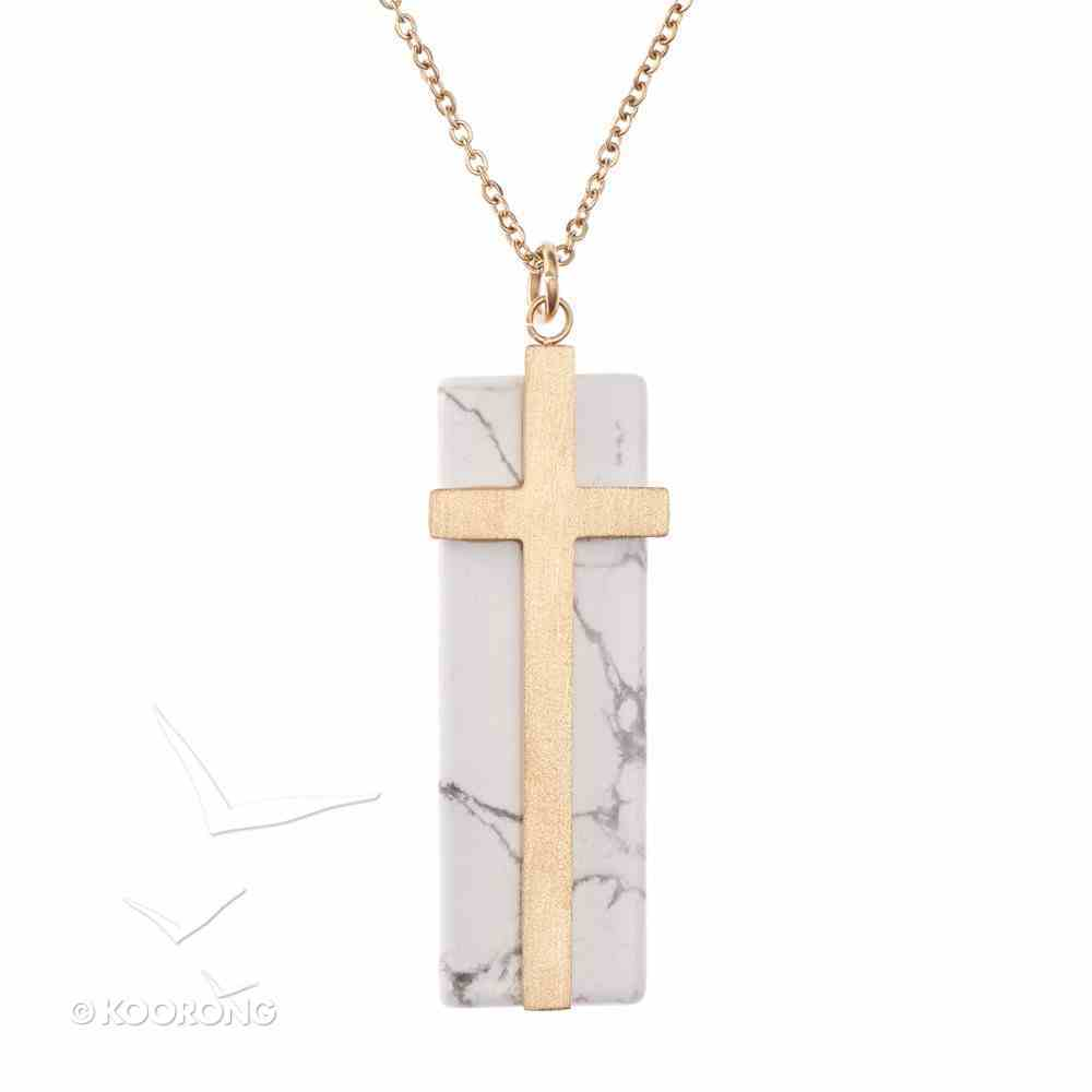 Necklace: Cross on Marble Stone, 61Cm Chain With 7cm Extender, Lobster Claw Closure Jewellery