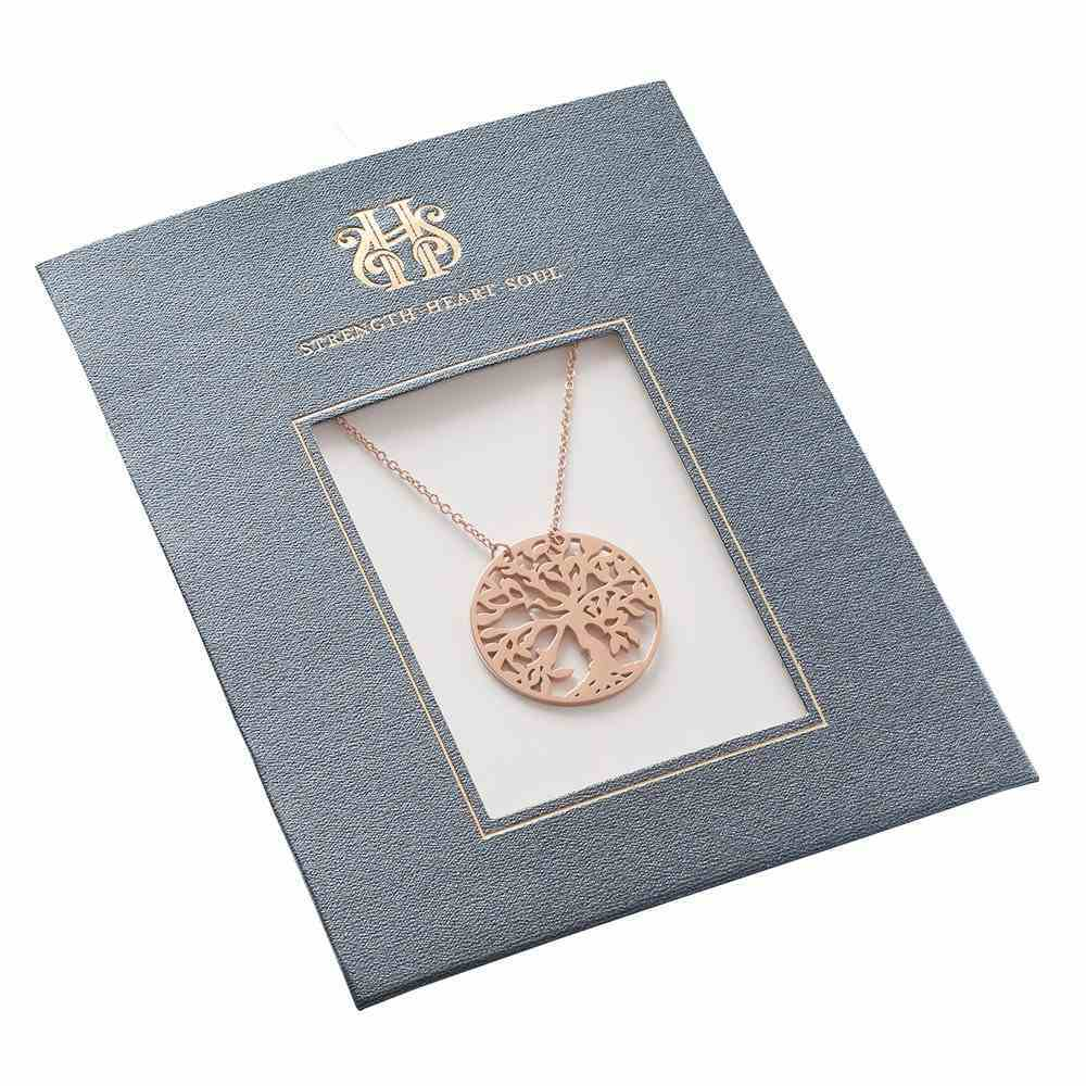 Necklace: Tree of Life Die Cut Disc, 61Cm Chain With 7cm Cross Dangle Extender, Lobster Claw Closure Jewellery