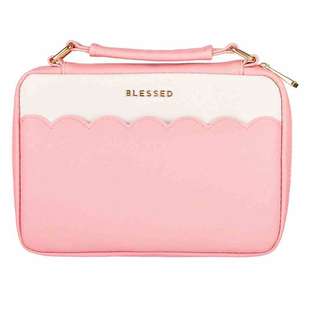 Bible Cover Fashion Medium: Blessed, Pink/White, Carry Handle Bible Cover