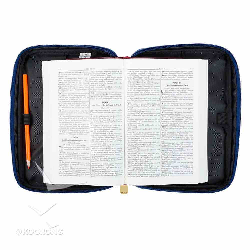 Bible Cover Fashion Large: Amazing Grace, Navy, Carry Handle Bible Cover