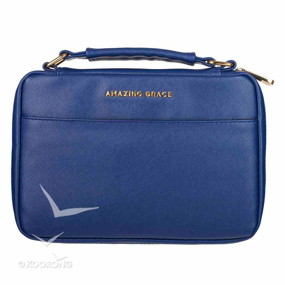 Bible Cover Fashion Medium: Amazing Grace, Navy, Carry Handle Bible Cover