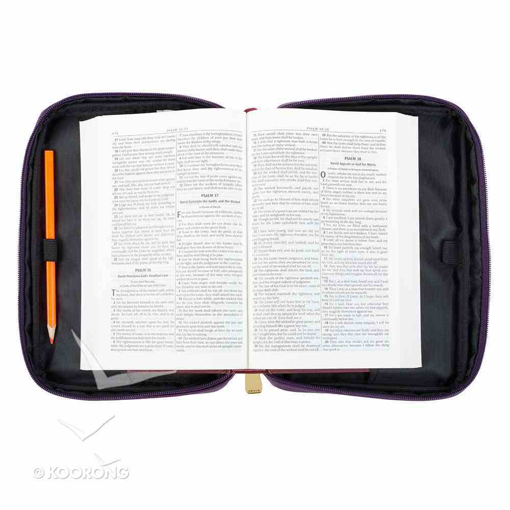 Bible Cover Fashion Large: Amazing Grace, Berry, Carry Handle Bible Cover