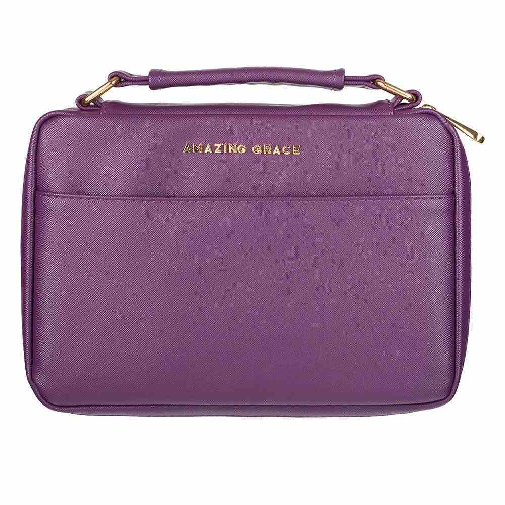 Bible Cover Fashion Medium: Amazing Grace, Berry, Carry Handle Bible Cover