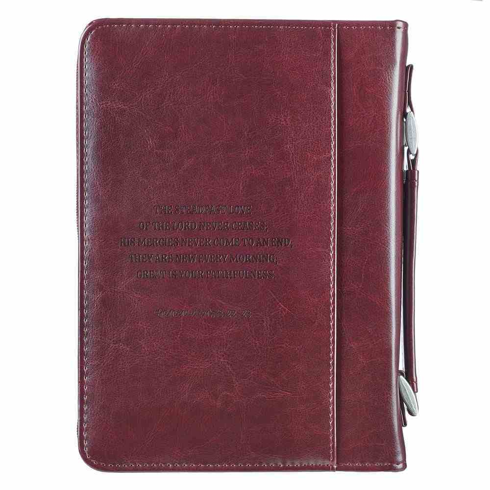 Bible Cover Trendy Large: His Mercies Are New Every Morning, Pink/Brown, Carry Handle Bible Cover