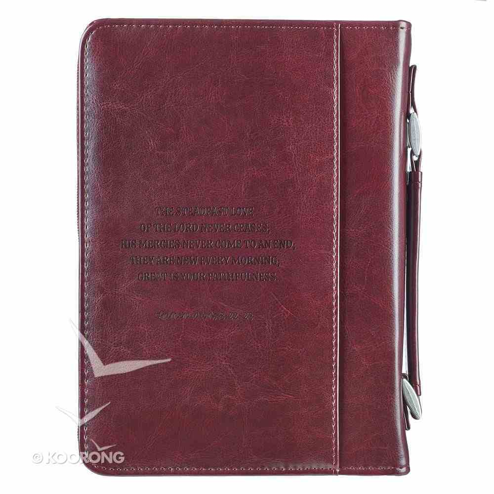 Bible Cover Trendy Medium: His Mercies Are New Every Morning, Pink/Brown, Carry Handle Bible Cover