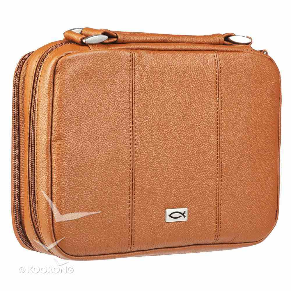 Bible Cover Large Metal Fish Emblem Genuine Leather Tan Bible Cover