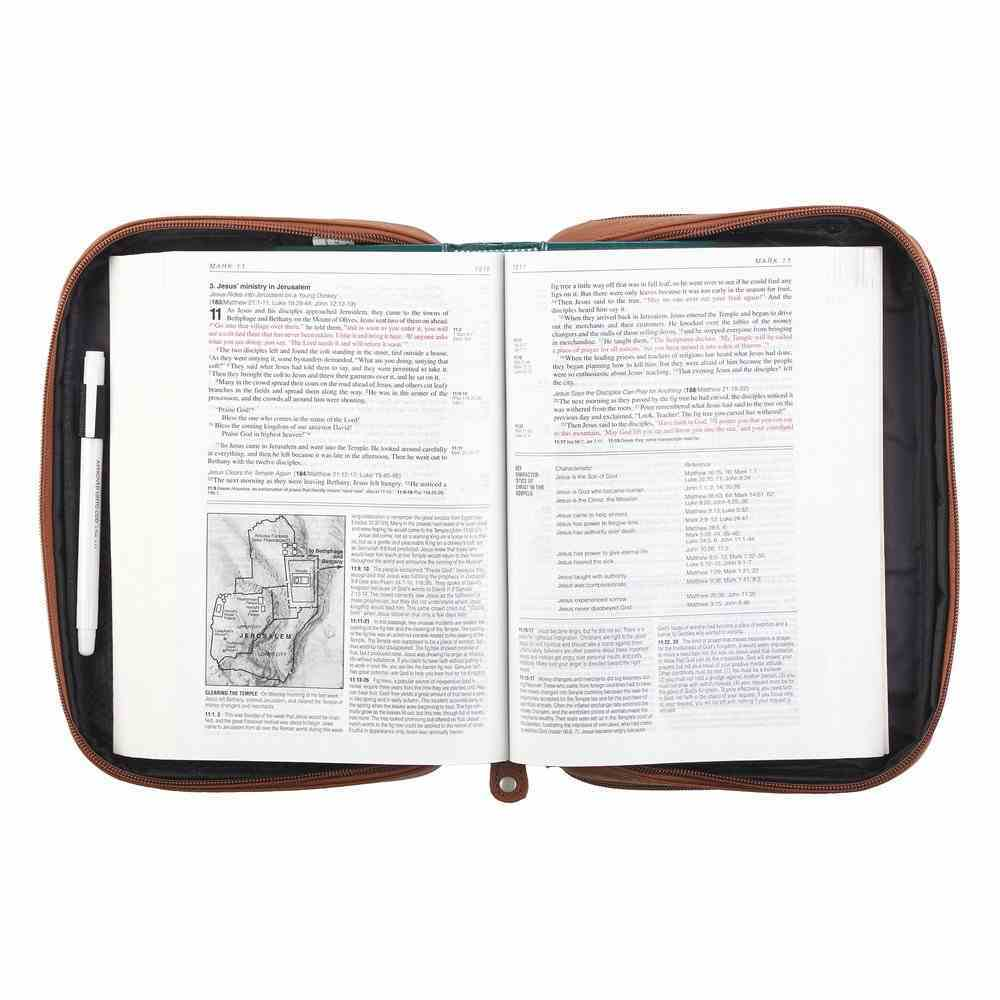 Bible Cover Medium Metal Fish Emblem Genuine Leather Tan Bible Cover