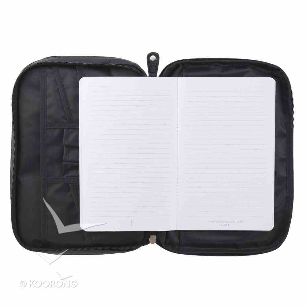 Bible Cover Large Metal Fish Emblem Genuine Leather Black Bible Cover