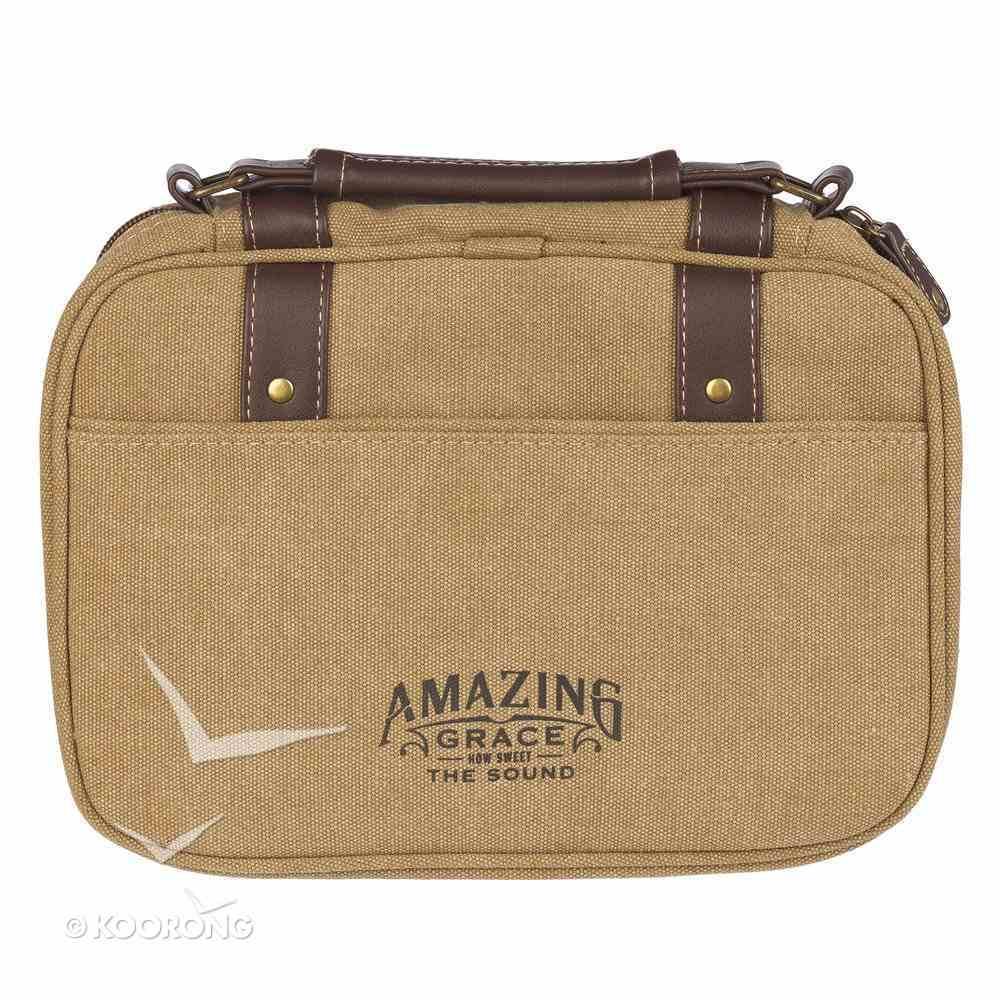 Bible Cover Canvas Large: Amazing Grace, Tan, Carry Handle Bible Cover