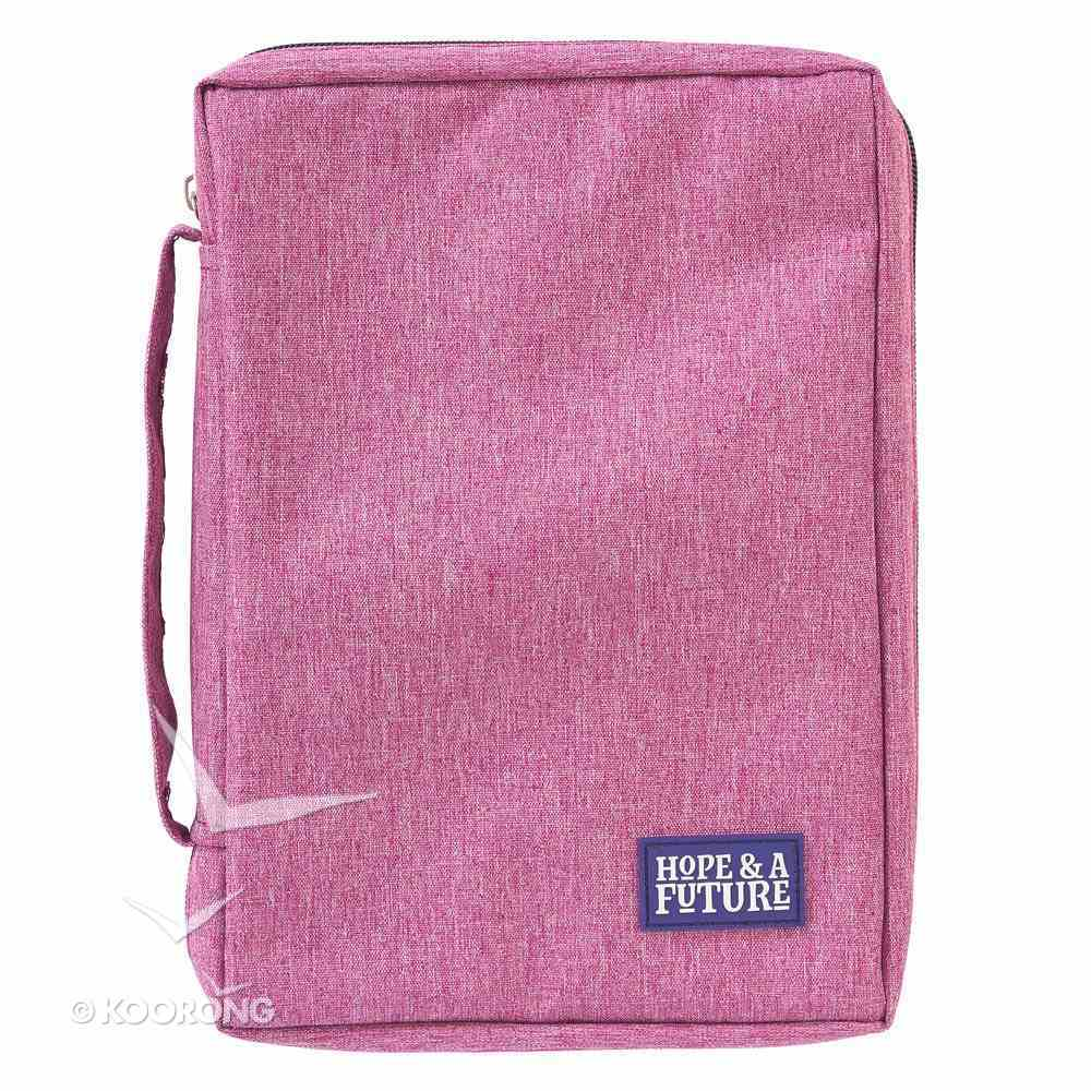 Bible Cover Poly Canvas Medium: Hope & a Future, Dark Pink, Carry Handle Bible Cover