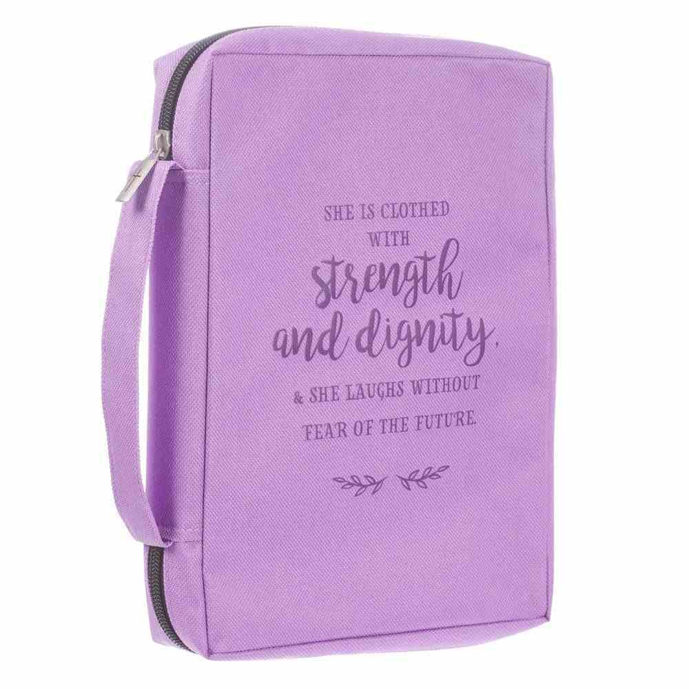Bible Cover Poly Canvas Large: Strength & Dignity, Purple, Carry Handle Bible Cover