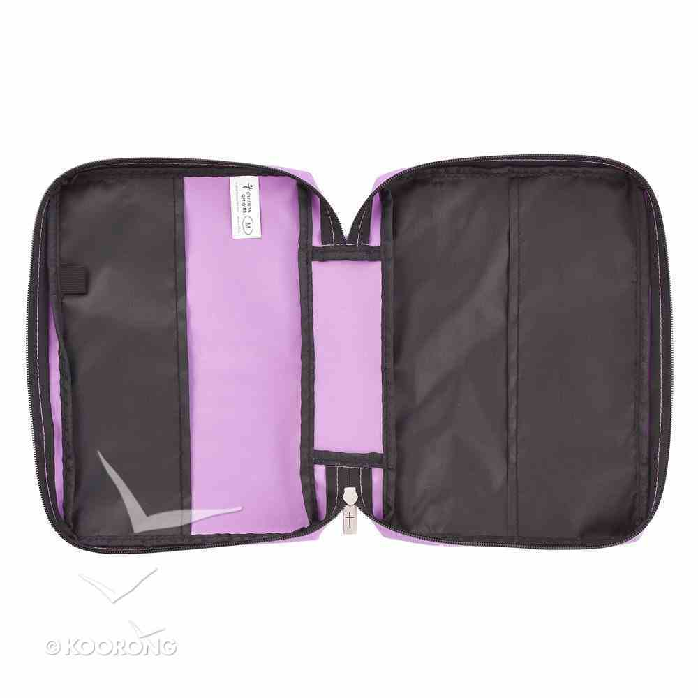 Bible Cover Poly Canvas Medium: Strength & Dignity, Purple, Carry Handle Bible Cover