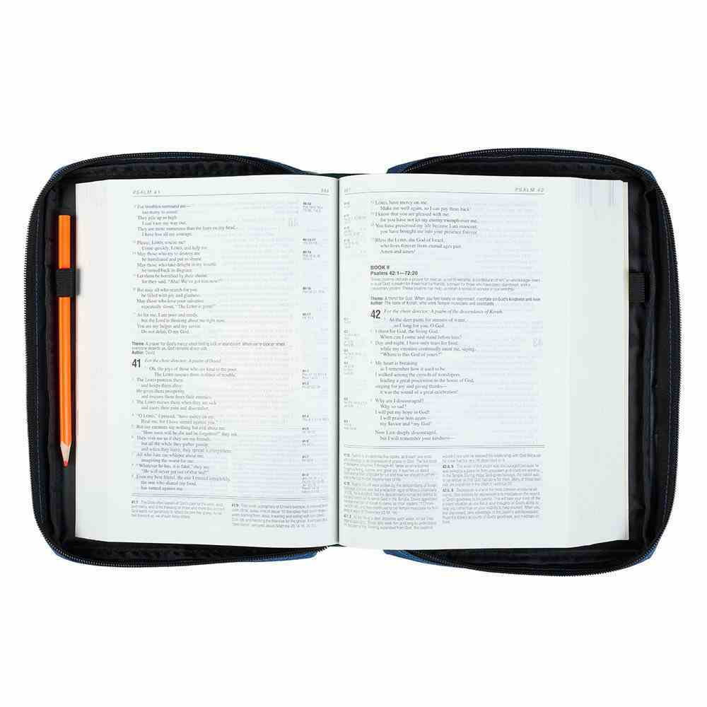 Bible Cover Poly Canvas Medium: All Things Through Christ, Denim, Carry Handle Bible Cover