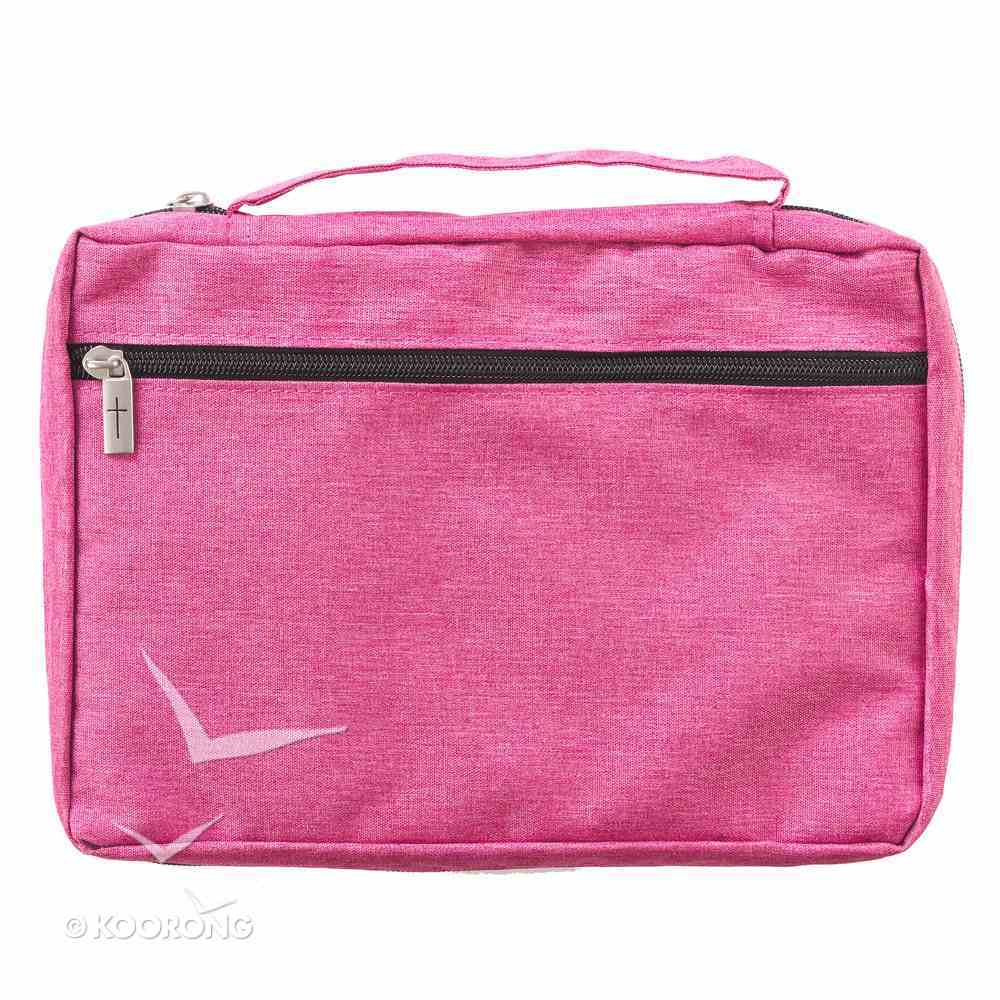 Bible Cover Poly Canvas Medium: Pray, Wait, Trust, Dark Pink, Carry Handle Bible Cover