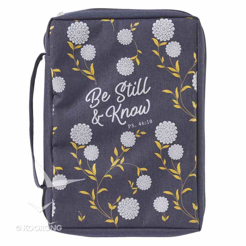 Bible Cover Poly Canvas Medium: Be Still & Know, Navy/White Cotton Flowers, Carry Handle Bible Cover