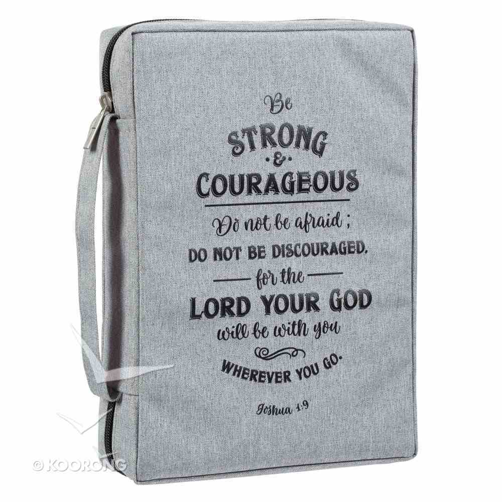 Bible Cover Poly Canvas Large: Be Strong & Courageous, Dirty Gray, Carry Handle Bible Cover