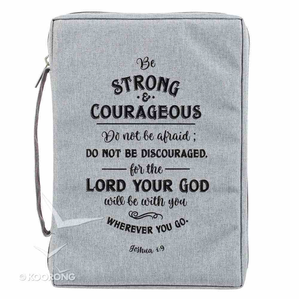 Bible Cover Poly Canvas Medium: Be Strong & Courageous, Dirty Gray, Carry Handle Bible Cover