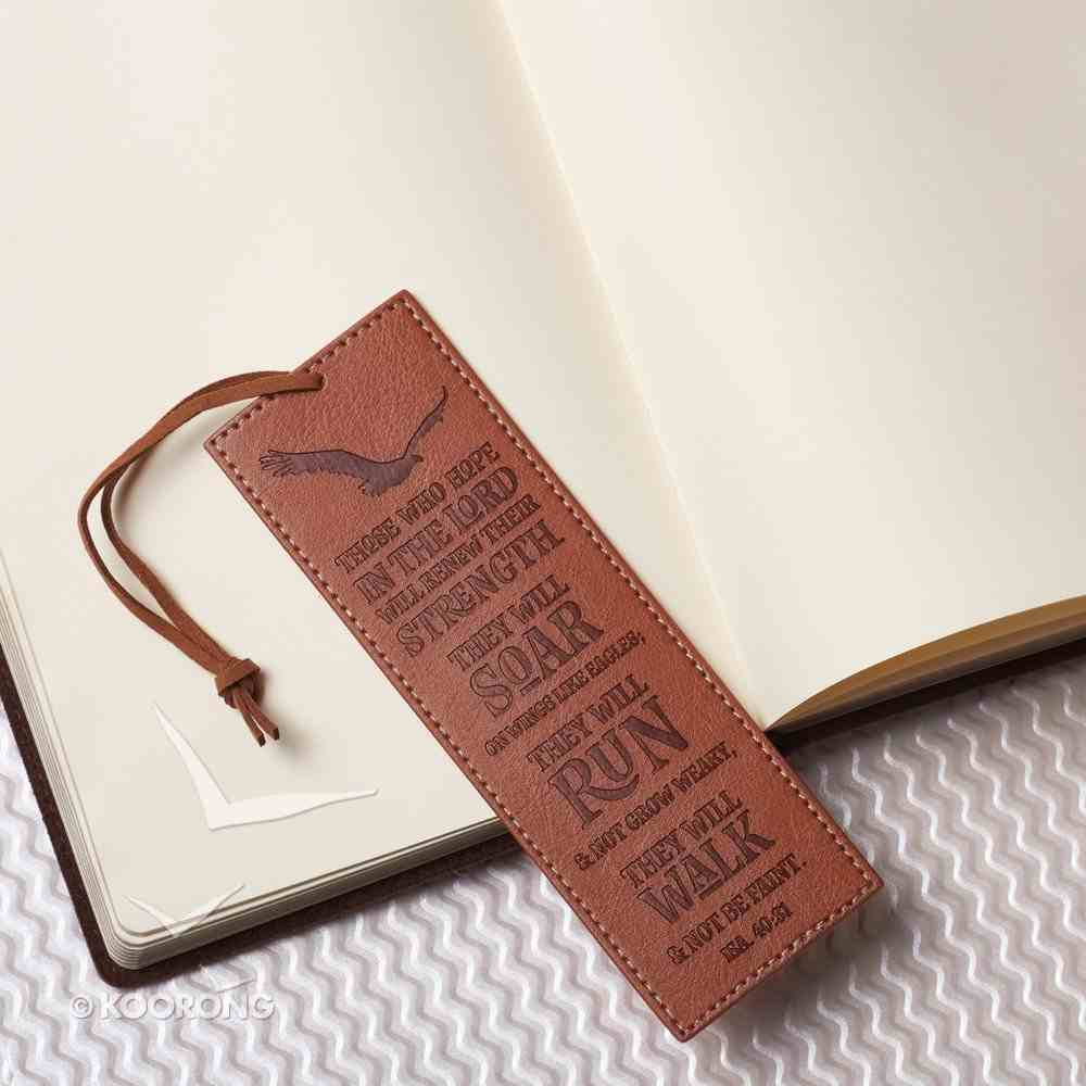 Bookmark: Those Who Hope in the Lord...Brown/Brown Cord Tassel (Isa 40:31) Imitation Leather