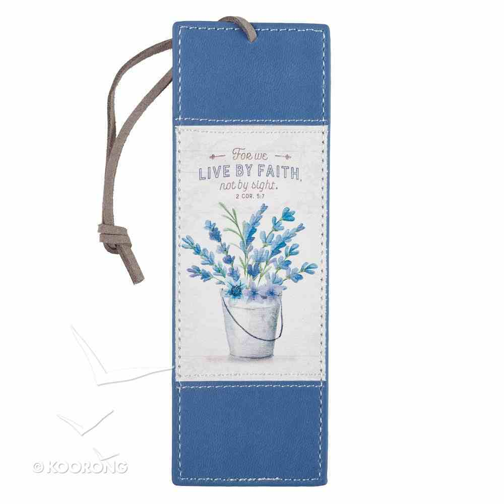 Bookmark: For We Live By Faith, Not By Sight, Blue Flowers in Pot/Brown Cord Tassel (2 Cor 5:7) Imitation Leather