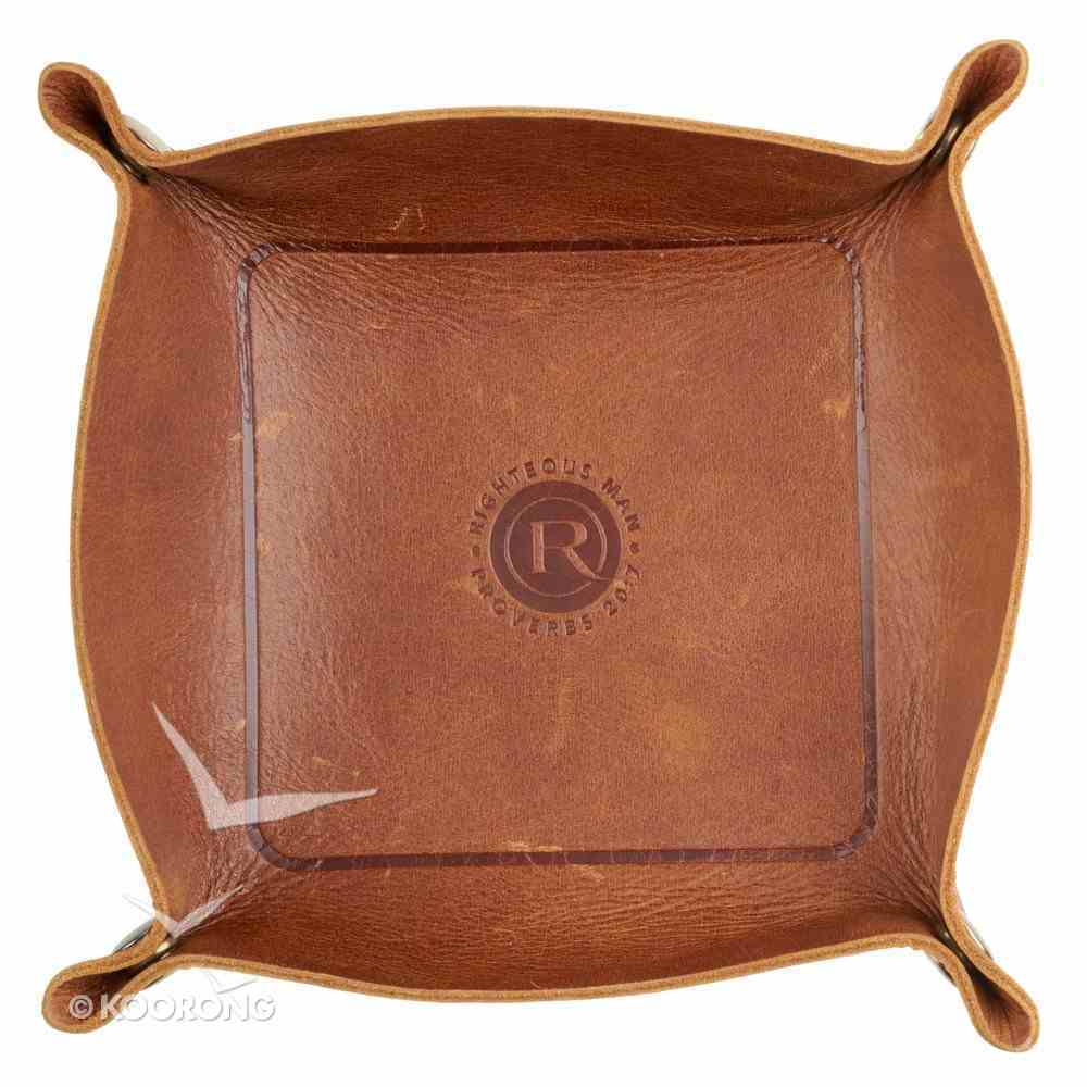 Trinket Tray: Genuine Full Grain Brown Leather, Righteous Man Homeware