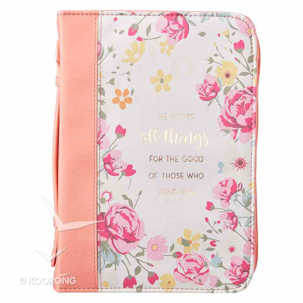 Bible Cover Trendy Medium, He Works All Things For the Good....Peach/Floral Luxleather (Romans 8: 28) Bible Cover