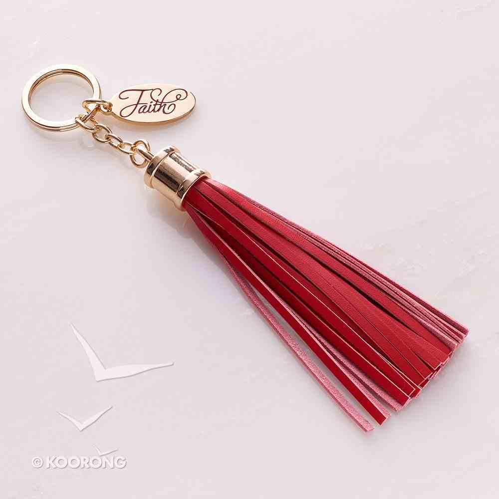 Tassel Keyring With Charm: Faith, Red/Gold, Genuine Leather Jewellery
