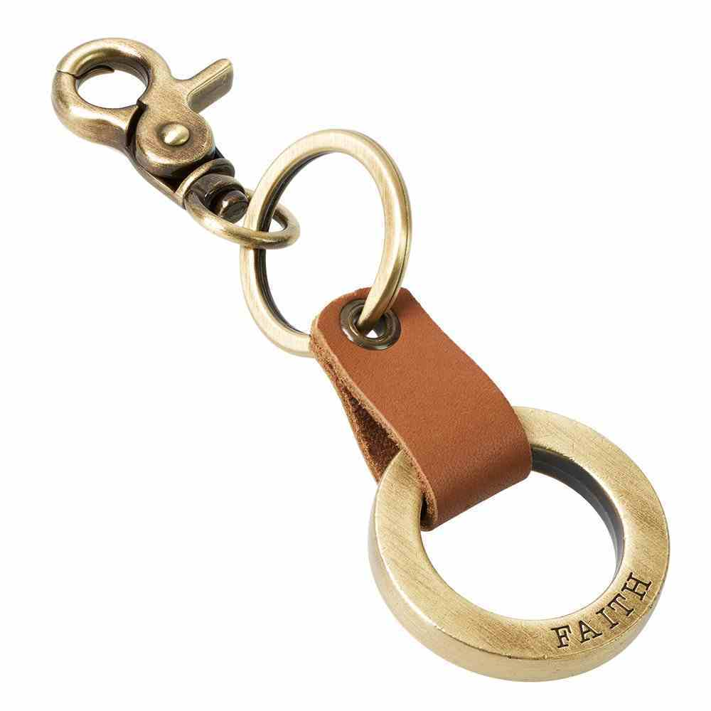 Genuine Leather Keyring: Faith, Tan/Gold Jewellery