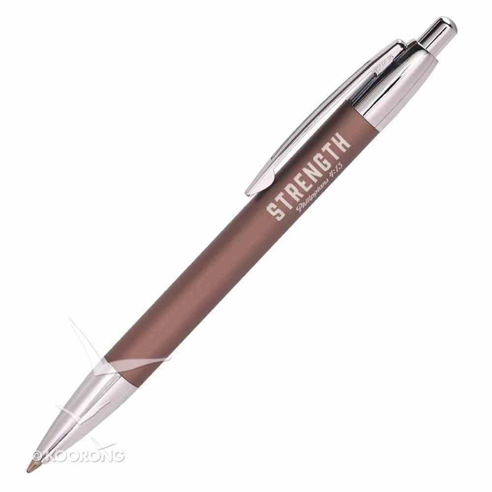Classic Pen: Strength, Brown/Silver (Phil 4:13) Stationery
