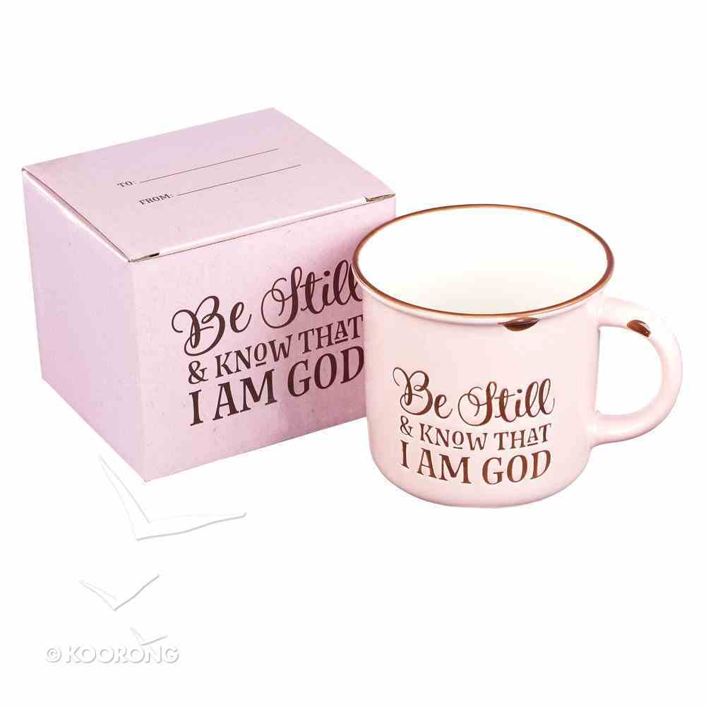 Camp Style Ceramic Mug: Be Still and Know....Pink/White (Psalm 46:10) Homeware