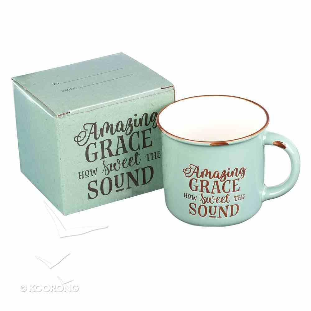 Camp Style Ceramic Mug: Amazing Grace How Sweet the Sound, Green/White Homeware