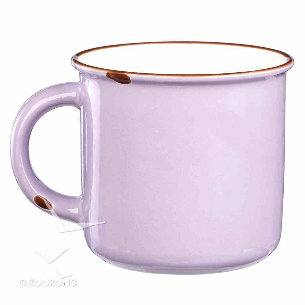 Camp Style Ceramic Mug: Let Your Light Shine, Lavendar/White Homeware