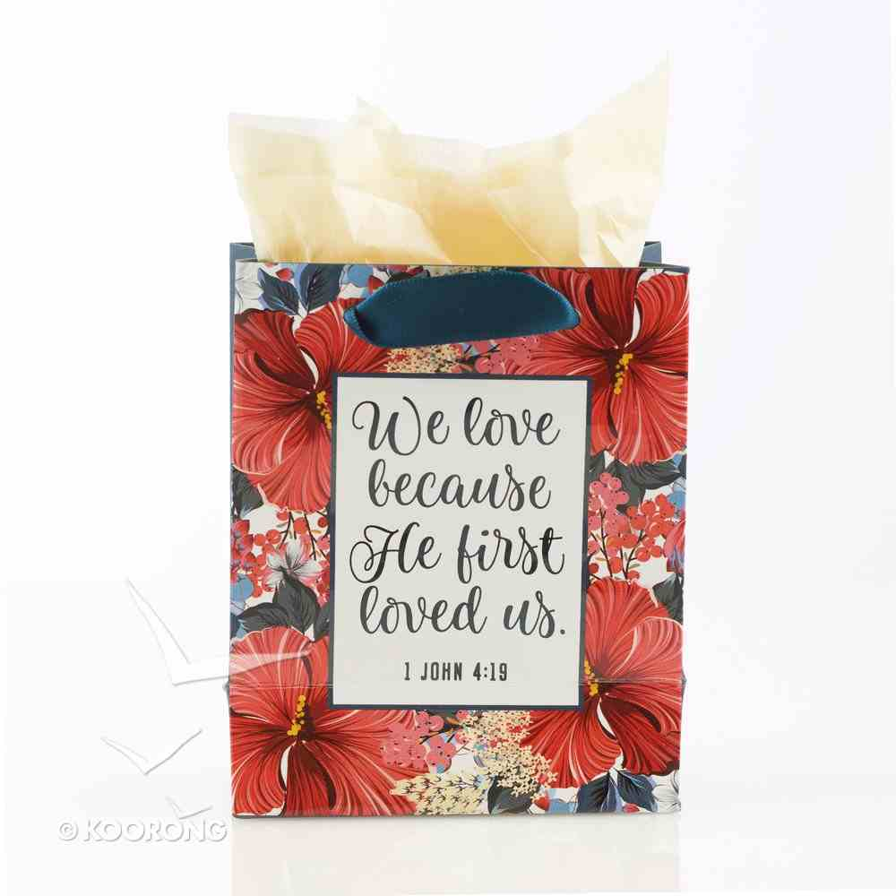 Gift Bag Small: We Love Because He First Loved Us, Navy/Red Flowers (1 John 4:19) Stationery