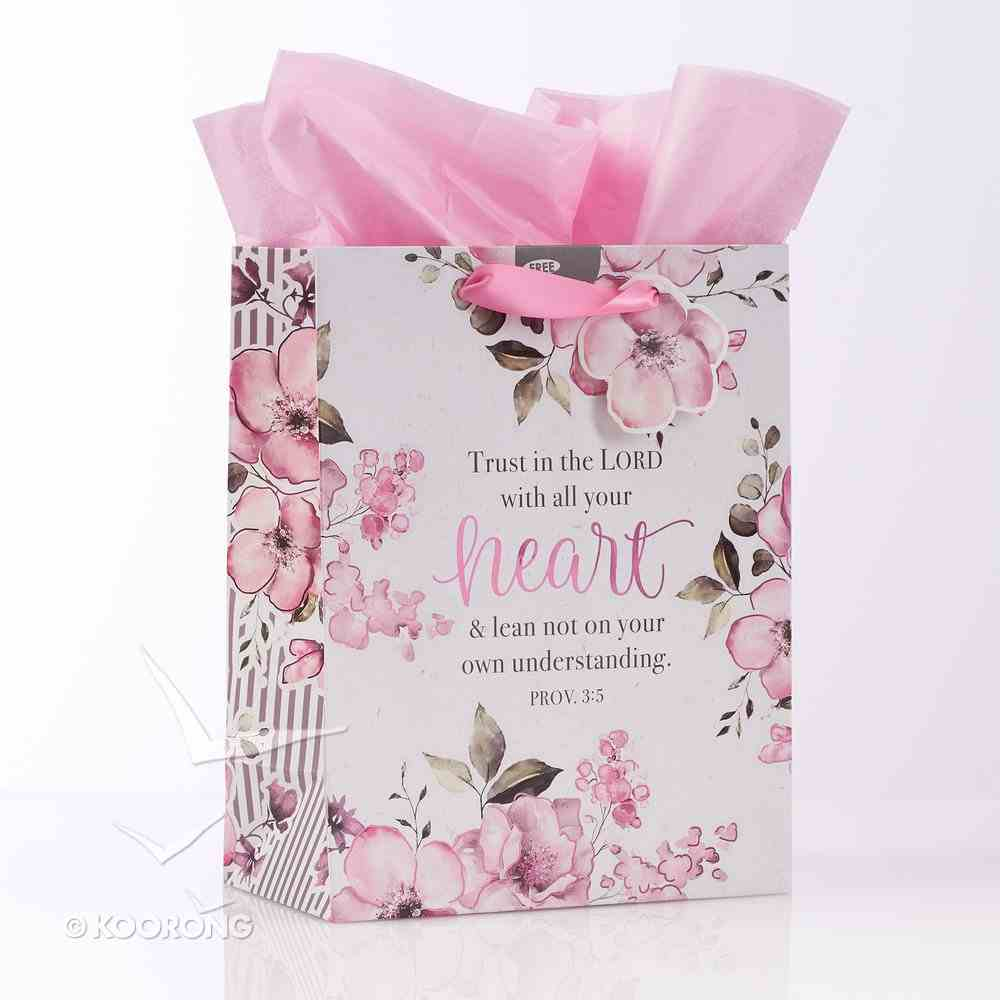 Gift Bag Medium: Trust in the Lord, Pink Floral (Proverbs 3:5) Stationery