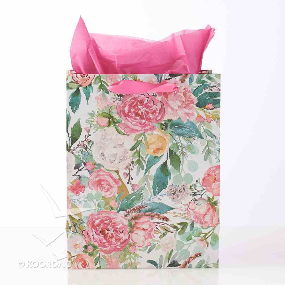 Gift Bag Medium: Hope & a Future, White/Pink Floral (Jer 29:11) Stationery