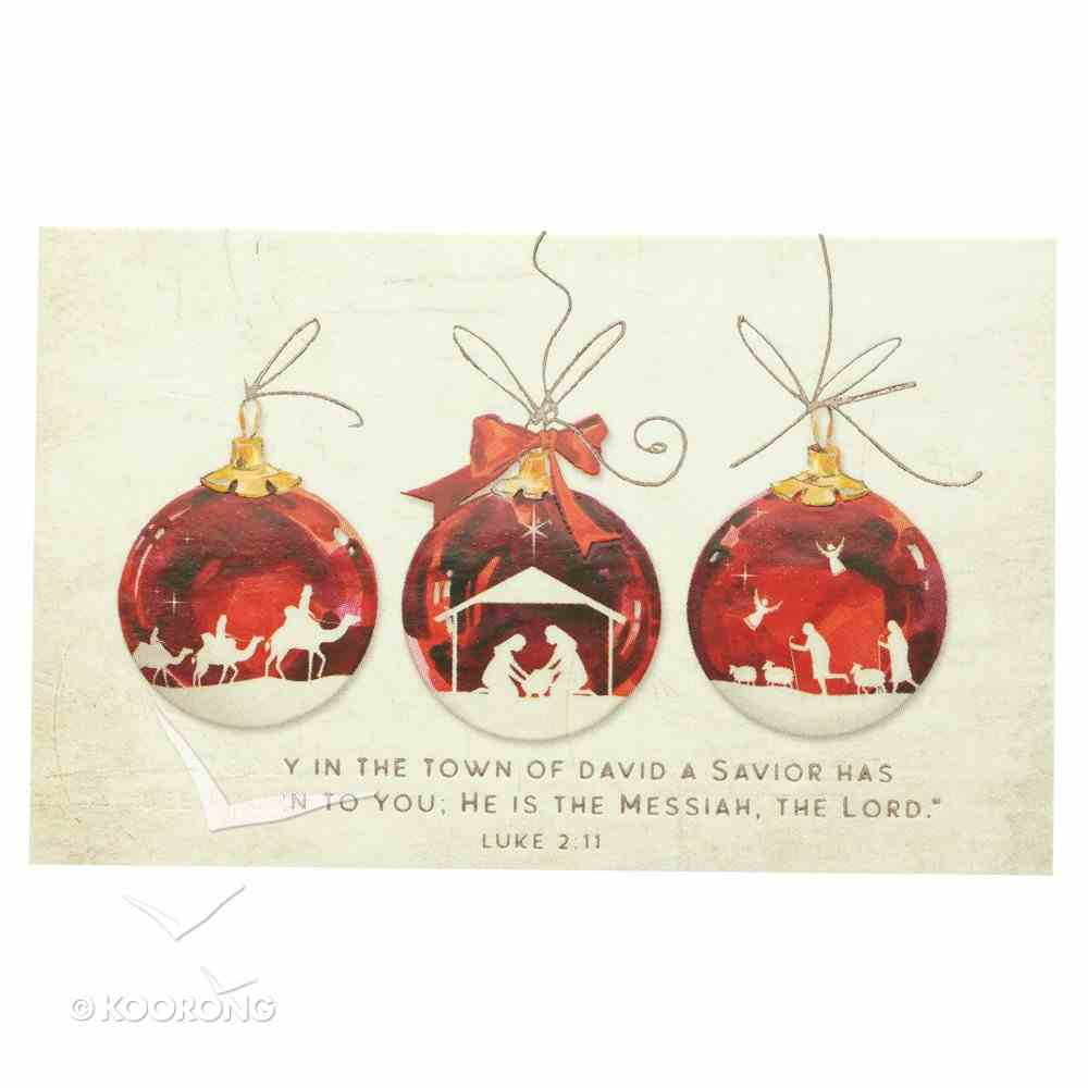Manger Scene , 3 Red Ball Ornaments (25 Pack) (Christmas Pass-around Cards Series) Cards