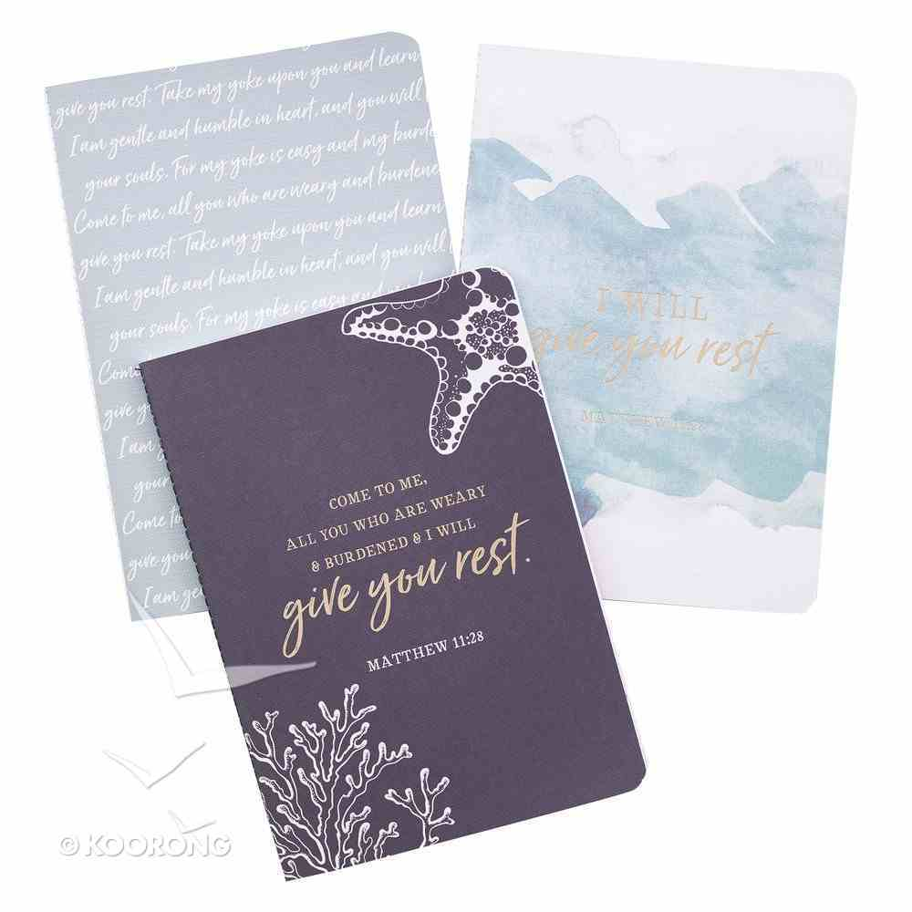 Notebook: I Will Give You Rest, Navy/Blue/White (Matthew 11:28) (Set Of 3) Paperback
